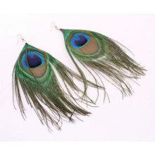 Оптовые естественные серьги пера павлина ювелирные изделия FEA09