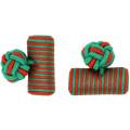 Green Custom Barrel Elastic Silk Knot Cufflinks