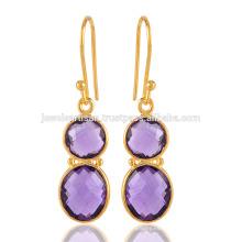Precioso par de oro amarillo paliado pendiente de plata de ley en amatista púrpura