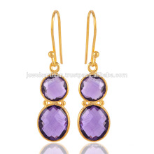 Gorgeous Pair of Yellow Gold Palted Sterling Silver Earring in Purple Amethyst