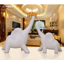 Good fortune home decor craft polyresin animal figurine elefante branco estátua para hotel