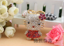 Creative fashion metal Keychain lovely flower 3D crystal hello kitty cat rhinestone key ring hot selling bag hanger