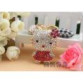 Creative fashion metal Keychain lovely flower 3D crystal hello kitty cat rhinestone key ring hot selling bag hanger