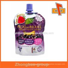 Flexible stand up bolsa resellable jugo bebida bolsa de bolsa con pico superior China fabricante
