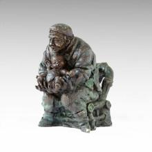 Estatua del este Vida del pueblo Abuelo-Nietos Escultura de bronce Tple-050