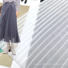 Light weight customized color 100% polyester woven white chiffon crepe pleated fabric for girls dresses