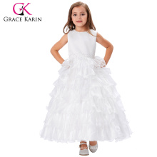 Grace Karin White Color Flower Girl Dress Princess Bridesmaid Wedding Pageant Girls Party Dress 2~12Years CL008994-1