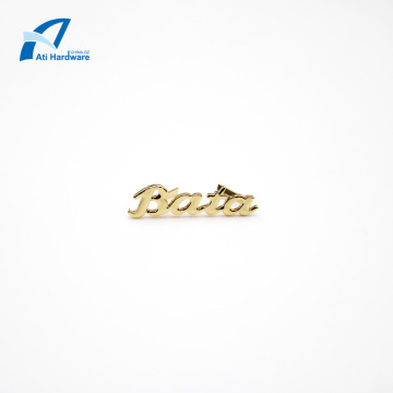 Etiqueta decorativa personalizada do metal do logotipo da bolsa da forma