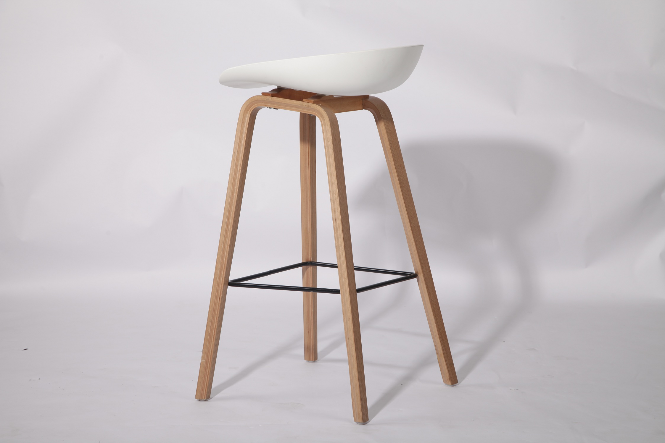 Wood Bar Stool Backless with Footrest