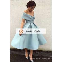 2017 High Quality New Arrival Satin Pleats Tea Length Ball Gown Custom Made Prom Dresses