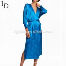 Chegada nova azul mulheres sexy pijama camisola de manga longa para senhora