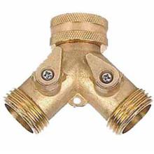 Raccord de tuyau à 2 voies en laiton avec jardinage à valve