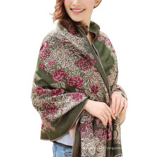 Top vente foulard chaud hiver femmes lady pashmina rose jacquard écharpe châle