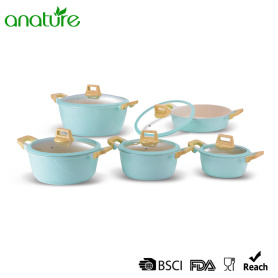 Light Blue Die Cast Set de utensilios de cocina antiadherente
