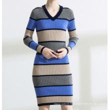 PK18ST079 Farbstreifen gut ausgestattete Frauen Kleider Pullover Mode Kleid Kaschmirpullover