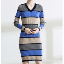 PK18ST079 cor listra bem montado mulheres vestidos camisola moda vestido suéter de cashmere