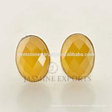 New Fashion 925 Sterling Silver Yellow Calcedonia Gemstone Round Stud Bezel Brincos