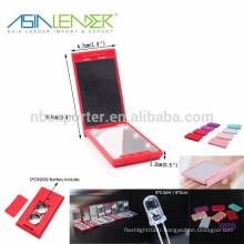 Miroir portable à LED 6LED / 0.36W / 30LM, miroir maquillage avec éclairage LED