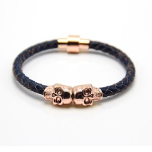 Mens Utara Tengkorak Logam Charm Black Leather Bracelet