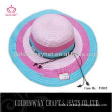 Ladies Wide Brim Chapéu de palha elegante