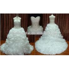 Beliebte komplizierte schwere Rüsche Organza Luxus Brautkleid Braut