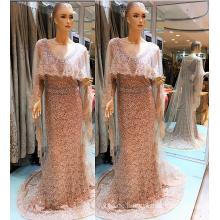 2017 Guangzhou Elegantes Kleid mit Tüll Cape Futter Perlen Abendkleider