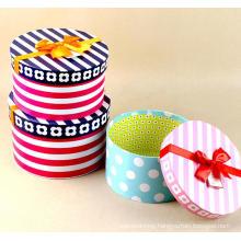 Elegant Stripe / DOT Printed Round Hat Box with Ribbon