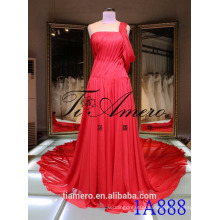 long big train Red One shoulder Sleeveless Ball Gown Evening Dress 2016