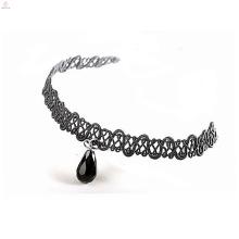 Perle strass perle pierre tissu en cuir en cuir collier ras du cou