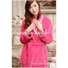 Quick Dry Warm fleece Women bathrobe with white Lace on Lapel