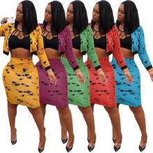 Latest Fashion Tie Dye Fashion Dresses 2021 Women Sexy New Styles Ladies Office Women Clothing Dress Two Piece Set