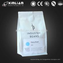 12oz Folie gefüttert matt weiß wiederverschließbare Kaffeebeutel