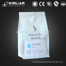 12oz foil lined matte white resealable coffee bag