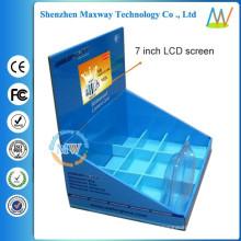 papelão ondulado display com tela de 7 polegadas LCD na parte superior