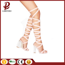hot sale whte fabric lace strappy sandals