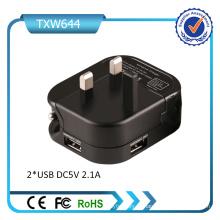 Reino Unido Plug Dual USB Carregador De Parede Universal