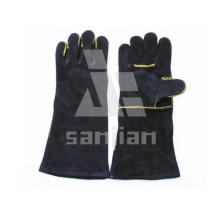 Gant noir de sécurité de soudure de catégorie d'Ab / Bc de cuir fendu avec du CE
