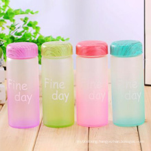 320ml Colorful Portable frosted Glass Water Bottle