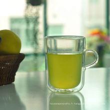 Mug en verre à double paroi en borosilicate 13 oz