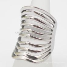 Bohemian Style Muti Lines Frauen Edelstahl Silber Cuff Ring