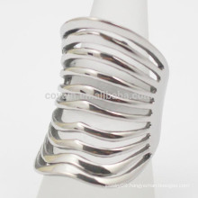 Bohemian Style Muti Lines Women Stainless Steel Silver Cuff Ring
