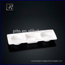 P & T porcelana fábrica retângulo compartimento pires prato wasabi & prato de sopa de soja para uso buffet