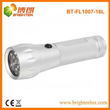 Factory Supply EDC Silver Color Bright Aluminium 16 led Torch pas cher