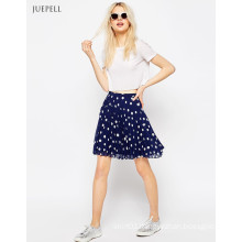 Pleated Mini School Girl Chiffon Short Micro Skirt in Polka DOT