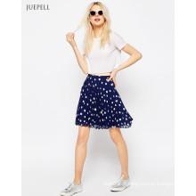 Mini-saia de poliéster plissada mini escola menina chique em polka dot