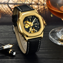 fashion gold leather mechanical mens wrist watch