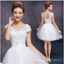 High Quality Backless with Lace White Color Women Party Dress