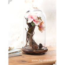 Handmade Clear Flower Glass Dome Wood Base