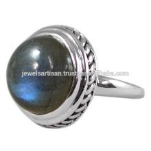 Blauer Blitz-natürlicher Labradorit-Edelstein 925 Sterlingsilber-Ring-Großhandelsschmucksachen