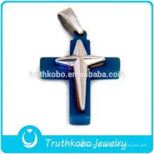 2012 atacado dois tons de aço inoxidável jesus Cristo duplo dorje pingente cruz para unisex